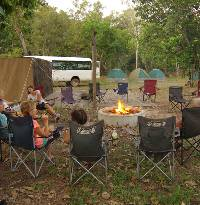 Relaxing at the semi-permanent Safari camp in Kakadu |  <i>Rhys Clarke</i>