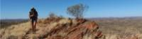 Our guide Alice walking along high ridge-lines on the Larapinta Trail. |  <i>Ayla Rowe</i>