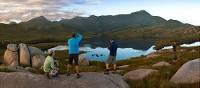 Hikers taking in the breathtaking views of Cradle Mountain and Lake St Clair   Peter Walton
