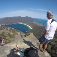 Looking down towards Wineglass Bay from the top of Mt Amos   Brad Atwal