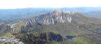 View from Frenchmans Cap towering over Lake Tahune and Lake Vera   Tourism Tasmania & Nicholas Tomlin