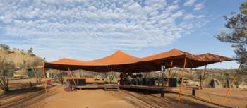 The Larapinta Camps canopies offer great shade under the outback skies | Brett Boardman