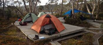 Camp setup on the Overland Track | Tasmanian Expeditions